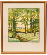 Hall Thorpe (1874-1947) Bluebell Wood signed in pencil (lower right) woodcut 23.5 x 20cm.