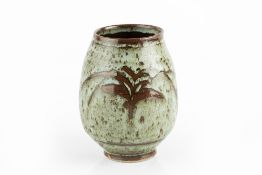 David Leach (1911-2005) Vase decorated with a wax-resist willow tree impressed potter's seal 14cm