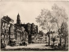 Sidney Tushingham (1884-1968) Continental town square signed in pencil (in the margin) etching 27