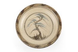 Malcolm Pepper (1937-1980) Charger stoneware, painted with central willow tree within rings of
