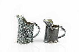 Walter Keeler (b.1942) Two jugs salt-glazed impressed potter's seals 14cm and 11.5cm high (2).