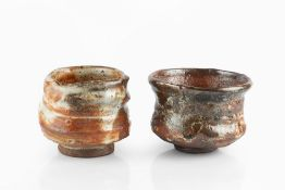 Charles Bound (b.1939) Two chawan wood-fired impressed potter's seals 14cm and 11cm diameter (2).