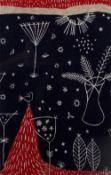 Hilda Durkin for Liberty & Co. Dark Garden, 1953 screen-printed textile 41 x 26cm.
