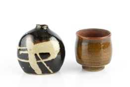 Alan Brough (20th Century) Yunomi and a bud vase tenmoku impressed potter's seals 8.5cm and 11.5cm