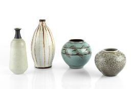 Barbara Cass (1921-1992) Four vases three with 'BC York' mark, one with 'York' mark tallest 19.5cm