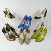 Five various pairs of Rene Caovilla ladies shoes, sizes 36 to 37.