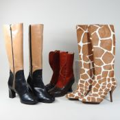 A Sergio Rossi giraffe skin pattern ladies knee high boots, size 37,