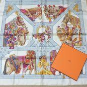 An Hermes silk scarf, La Danse du Cheval Marwari,