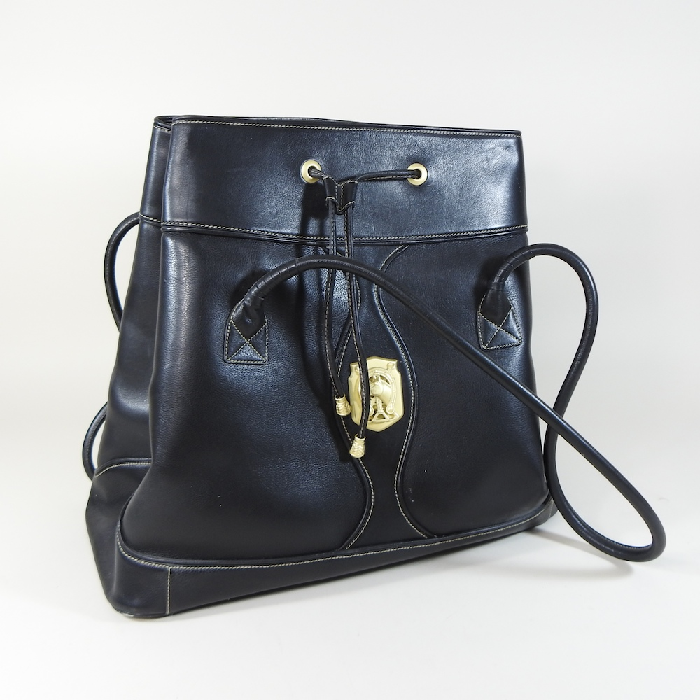 Lot 34 - A Barry Kieselstein-Cord black leather tote bag,