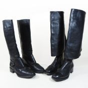 A pair of Prada black leather fold over knee high boots, size 37,