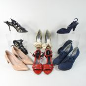 A pair of Anna Bublik blue suede shoes, size 37, together with a pair of Paul Andrew shoes, size 38,