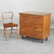 An antique pine chest of drawers, 84cm,