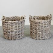 A set of three graduated circular wicker baskets, largest 49cm diameter,