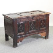 An 18th century and later oak coffer,