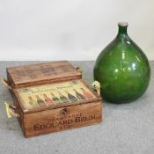 A vintage style champagne advertising wooden box, together with another, 55cm,