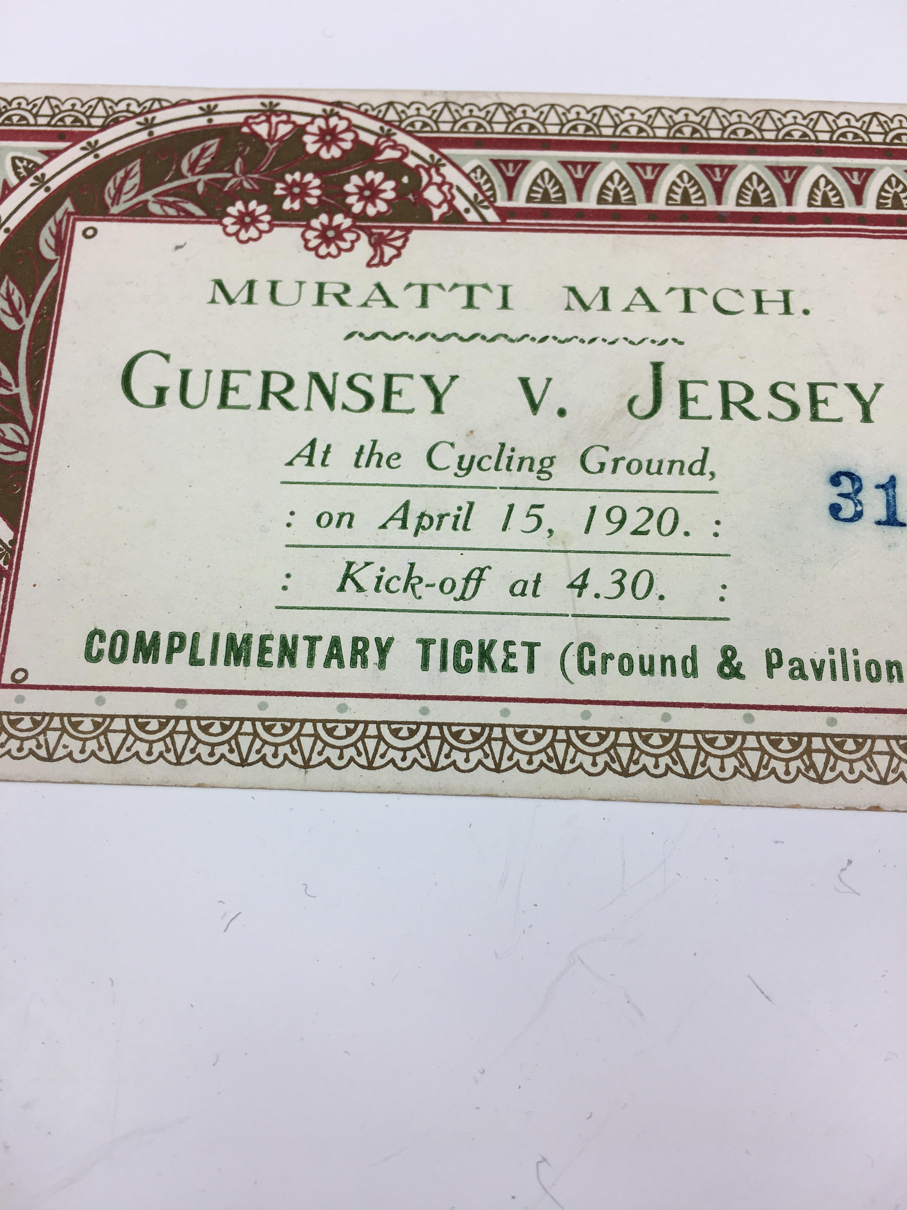 Lot 325 - An extremely rare 1920 Muratti Match gate ticket - Channel Islands football interest, the original