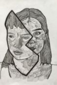 Rosy Brown - Sibling Portrait in two pieces, pen and ink on paper, mixed media, unframed w 290 x h