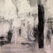 Cahir Cahill - Portelet - acrylic, charcoal, collage, crayon and spray paint w 500 x h 500mm