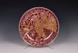 William De Morgan (1839-1917) - a good 'Frightened Bird' double lustre shallow dish or charger,