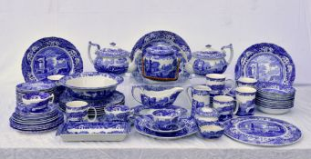 An extensive Spode Italian blue & white china part dinner service, to include a pair of teapots;