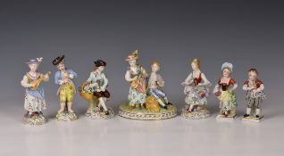 A Dresden porcelain figural group, 20th century, in the Meissen style, depicting a young courting