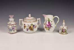 A small collection of Continental porcelain, comprising a Meissen floral decorated milk jug, with
