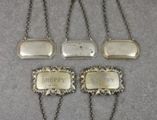 A collection of five vintage silver decanter labels, comprising of two by A Chick & Sons Ltd,