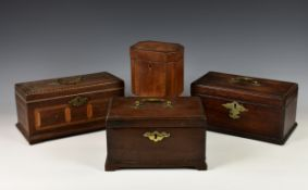 Three George III mahogany tea caddies for restoration, of sarcophagus form, the first with ornate