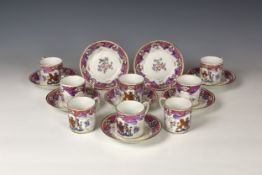 A set of eight 19th century Samson of Paris porcelain cabinet cups & saucers in a Chinese export