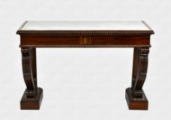 A William IV rosewood and marble console table, the inset white and grey marble top with bevelled