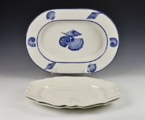 A Villeroy & Boch porcelain seafood serving dish, large proportions, of oval form, with deep well