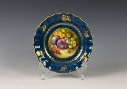Richard Sebright for Royal Worcester porcelain cabinet bowl / plate, early 20th century, the
