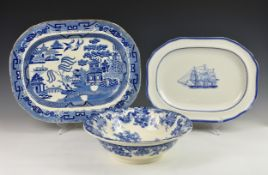 A Minton Genevese pattern wash bowl, 12½in. diameter; together with a Spode 'Ship Windsor Castle'