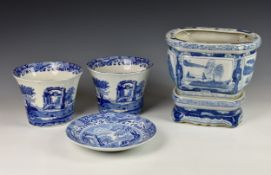 Three blue and white jardinières, to include a 20th century Chinese jardinière and stand of shaped