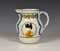 A Duke of York Prattware jug, circa 1793, moulded with profile portrait of Duke of York, the