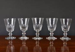 A closely matched set of five 19th century glass rummers, the bucket bowls with panel cut