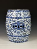 A Staffordshire pottery barrel shaped garden/window seat in the Chinese taste, 19th century, with