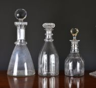 A Georgian panel cut decanter, with two facet cut neck rings and ground pontil, 10½in. (26.7cm.)