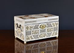 A Chinese export blonde tortoiseshell and ivory tea caddy, 18th century, of rectangular form, the