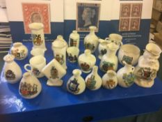 CRESTED CHINA, 22 different examples fro