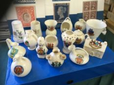 CRESTED CHINA, 16 different examples fro