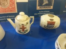 CRESTED CHINA, 8 different examples from