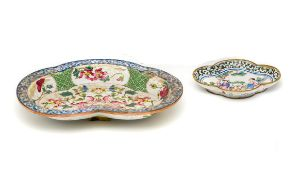 TWO CHINESE CANTON ENAMEL DISHES, QIANLONG PERIOD (1736-95)