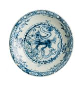 A CHINESE BLUE AND WHITE CHARGER, PROBABLY 'SWATOW' WARE 16TH CENTURY