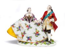 A MEISSEN GROUP OF AUGUSTUS III AND MARIA JOSEPHA, LATE 19TH CENTURY