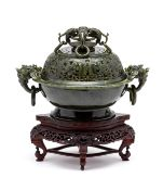 A CHINESE SPINACH JADE ARCHAISTIC CENSER AND COVER, 20TH CENTURY