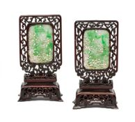 A PAIR OF CHINESE JADEITE PLAQUES, EARLY 20TH CENTURY