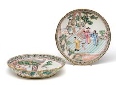 A PAIR OF CHINESE CANTON ENAMEL SAUCER DISHES, QIANLONG PERIOD (1736-1785)