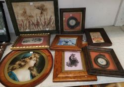 A framed collage of butterflies and flowers; a selection of miniature pictures and prints