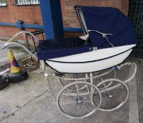 A vintage Marmet 1960's/70's coach built pram in blue